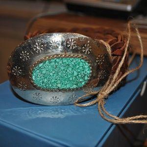 Chico's turquoise buckle belt euc size s/m